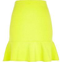 Lime flute hem mini skirt