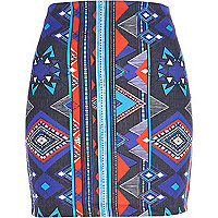 Blue aztec print mini skirt