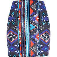 Blue aztec print mini skirt