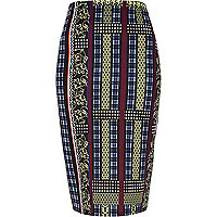 Dark blue mixed print pencil skirt
