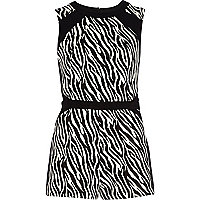 Black zebra print colour block smart playsuit