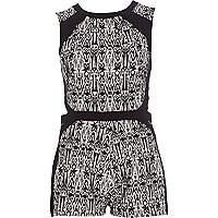Black abstract print colour block playsuit