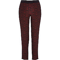 Red jacquard print cigarette pants