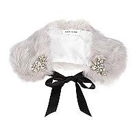 Grey faux fur embellished collar