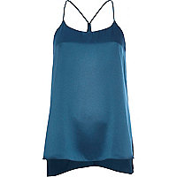 Teal silky longline cami top