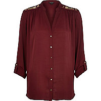 Red embellished roll sleeve shirt