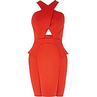 Red cross front pencil dress