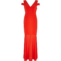 Red cut out shoulder maxi dress