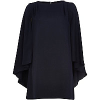 Navy cape sleeve shift dress