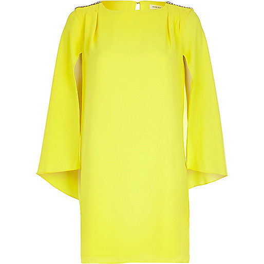 Yellow cape sleeve shift dress