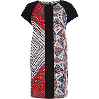 Red foulard print crepe t-shirt dress