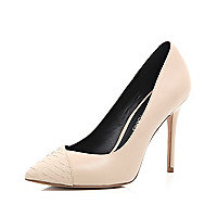 Nude contrast toe cap point court shoes