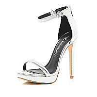 Silver platform barely there sandals