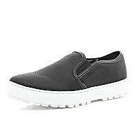 Black slip on cleated sole plimsolls