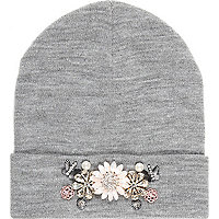 Grey marl embellished beanie hat