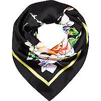 Black oriental print satin square scarf