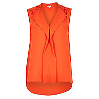 Orange waterfall frill sleeveless blouse