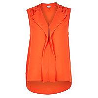Orange waterfall frill sleeveless blouse