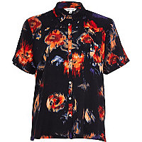 Navy blurred floral print boxy shirt