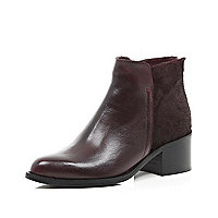 Dark red leather pony skin ankle boots