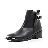 Black leather metal trim ankle boots