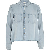 Light wash crop denim shirt