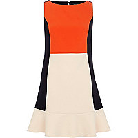 Navy colour block flippy dress
