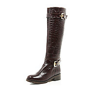 Brown mock croc buckle trim riding boots