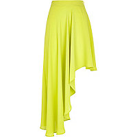 Lime asymmetrical midi skirt