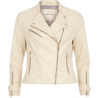 Cream leather-look biker jacket