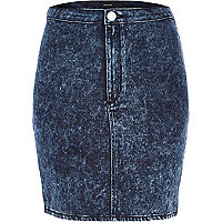 Acid wash denim mini tube skirt