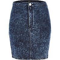 Acid wash denim mini tube skirt