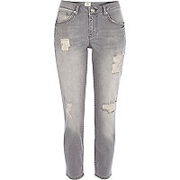 Grey wash ripped Eva girlfriend jeans