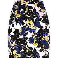 Light pink floral print mini skirt