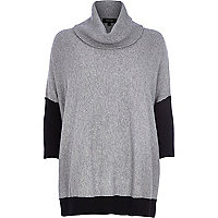 Grey cowl neck jumper