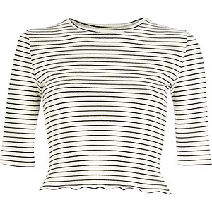 Cream stripe ribbed top