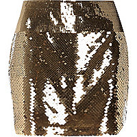 Gold tone sequin mini tube skirt