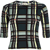 Dark green check fitted cropped t-shirt