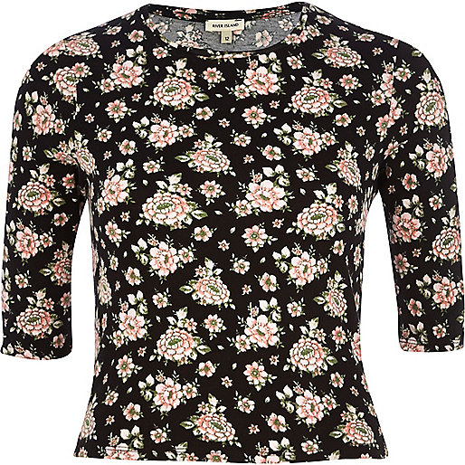 Black floral print fitted cropped t-shirt