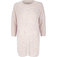 Pink boucle knit dress