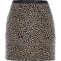 Grey animal print mini skirt