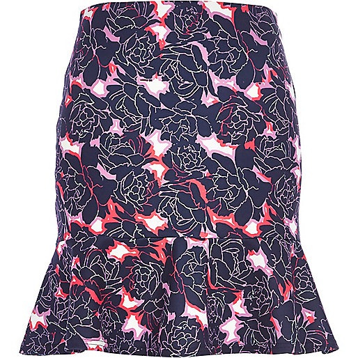 Purple floral print flute hem mini skirt