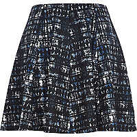 Blue smudge print skater skirt