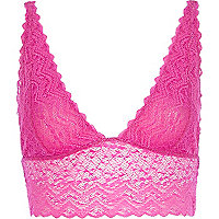 Pink long line lace bra top