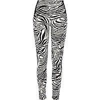 Black and white zebra print leggings