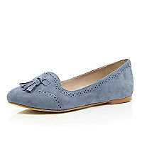 Blue suede brogue slipper shoes