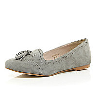 Grey suede brogue slipper shoes