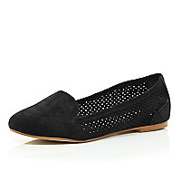 Black suede laser cut slipper shoes