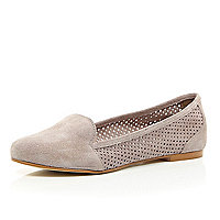 Pink suede laser cut slipper shoes