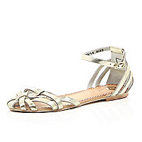 Gold leather strappy sandals